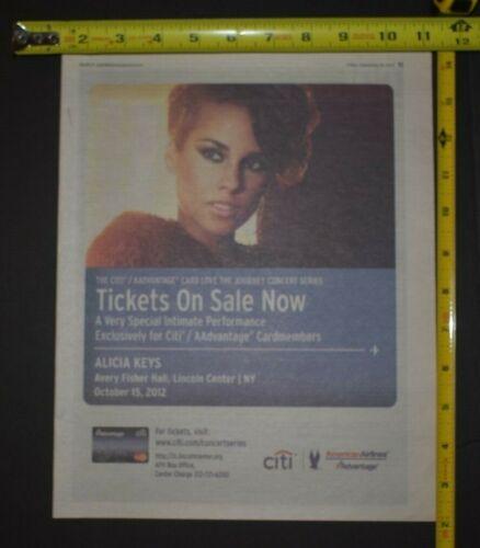 Alicia Keys 2012 Concert Ad Exclusive Citi AAAdvantage Members Lincoln Center NY
