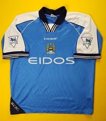 144198d67 4.3 5 Manchester City jersey large 1999 2001 home shirt Le Coq Sportif ig93