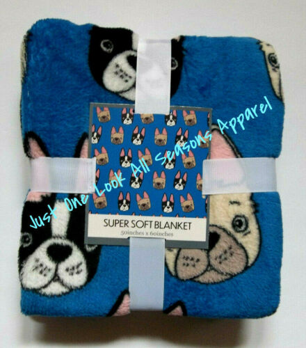 "French Bulldog Super Soft Blanket 50"" x 60"" ~ New"