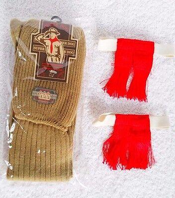 Boy Scout Knees Red Tassel Elastics Khaki Long Socks Set Command Explorer Leader