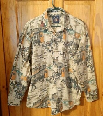 Salty Dog By Gant Trapper Twill Shirt Large Western Tombstone Gun Fight Cowboy ()
