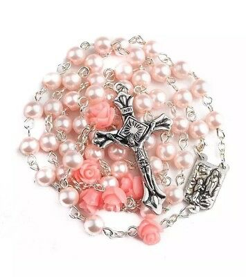 Nazareth Store Catholic cross Pink Pearl Beads Rosary Necklace Our Rose... - Pink Cross
