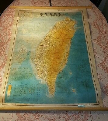 Rare Vtg 1956 Denoyer-Geppert Canvas Pulldown Wall Map of Tai-Wan Province,G.C!!