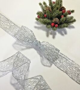 Christmas Ribbon Silver Mesh Wire edged 3.8 cm wide 5 Metres