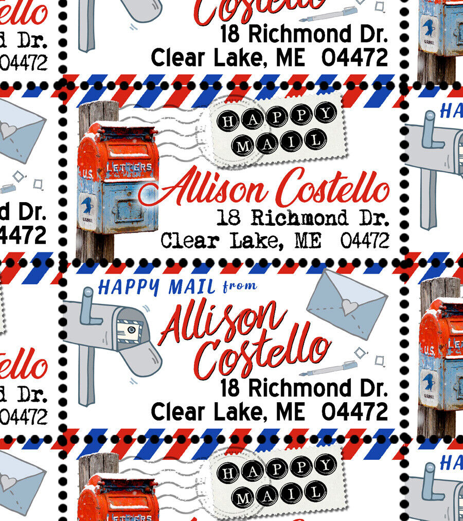 Happy Mail  Custom Return Address Stamps  Sheet of 40  Gummed  Perforated