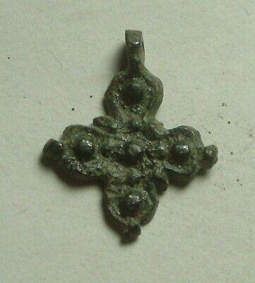 Rare Genuine Original Roman Byzantine bronze cross pendant artifact intact