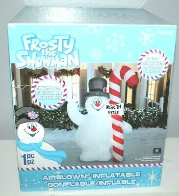 CHRISTMAS AIRBLOWN INFLATABLE 7.5 FT LIGHTED FROSTY THE SNOWMAN NORTH POLE SIGN