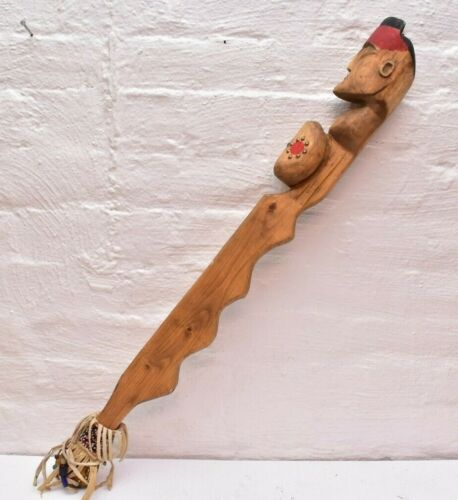 VTG NATIVE AMERICAN IROQUOIS NATIVE AMERICAN INDIAN FIGURAL FACE WAR CLUB WEAPON