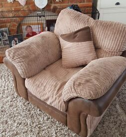 3 seater sofa + 2 armchairs & footstool