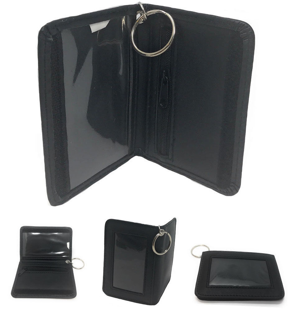 Double ID Holder with Keys Ring Wallet Zippered Coin Pocket