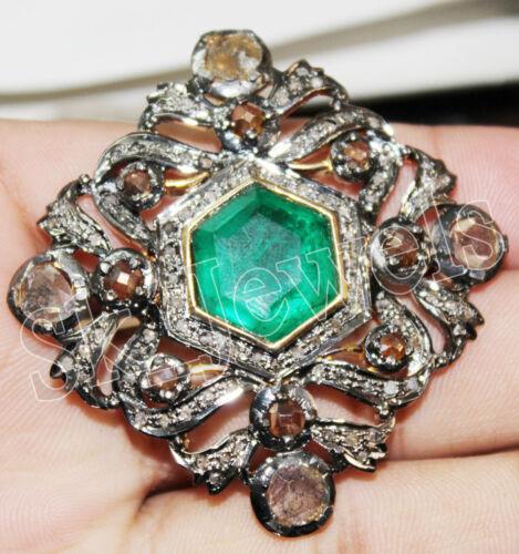 5.96ct ROSE CUT DIAMOND EMERALD ANTIQUE VICTORIAN LOOK 925 SILVER PENDANT