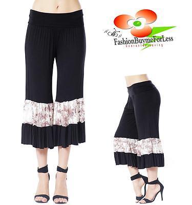 Jersey Yoga Capri Pant (Victorian BLACK Lagenlook Foldover Ruffle Palazzo Jersey Capri Yoga Pants S M L)