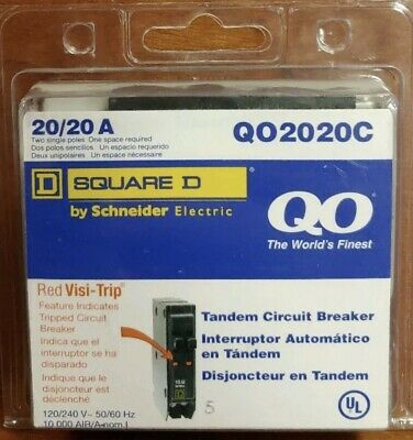 NEW Square D Schneider Qo 20-Amp 1-Pole Tandem Circuit Breaker (Square D Qo Tandem 20 Amp Circuit Breaker)