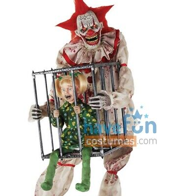 Scary Halloween Animatronics (Cagey The Clown Animated Prop w/ Kid Evil Scary Halloween Animatronic)
