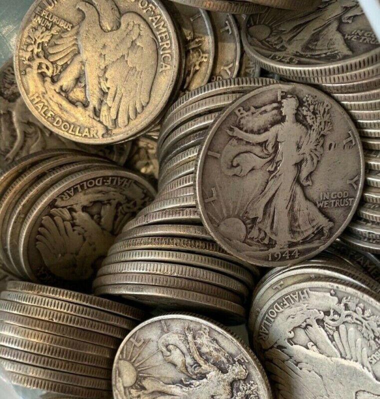 (1) 1940-1947 P/D/S Walking Liberty Half Dollar Random FACE 90% Silver Bulk Lot