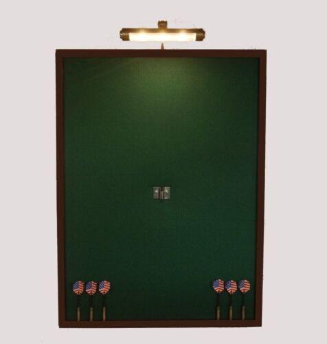 "NEW! LED Lighted 24"" x 32"" Dart Board Cabinet Backboard Wall Protector Dartboard"
