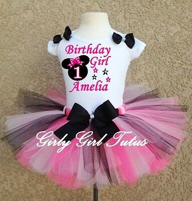 Pink And Black Minnie Mouse Tutu (Minnie Mouse Black/Pink Girls  Birthday Tutu Outfit Party)