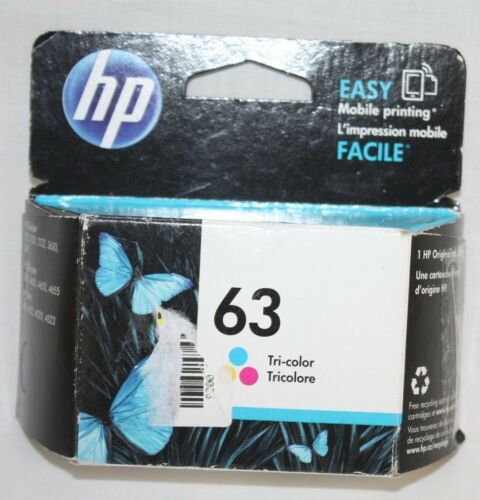 HP 63 Tri Color Ink Cartridge New Factory Sealed Expires Sept 2018