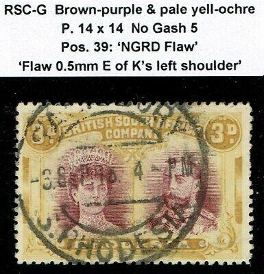 1910 Rhodesia Double Head 3d RSC G Perf 14 No Gash 5 Pos.39 NGRD Flaw FU