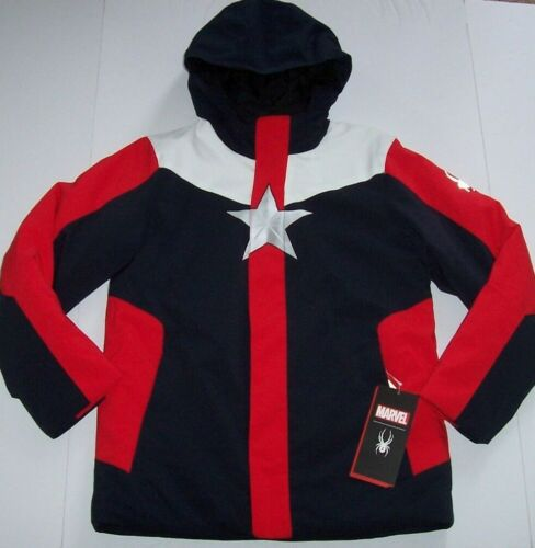 NWT Spyder $199 Marvel Coat Jacket Navy/Red CAPTAIN AMERICA Boys L 14/16 COOL