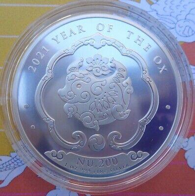 2021 Bhutan Year of the OX Lunar BU coin .999 fine silver