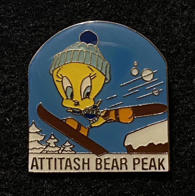 ATTITASH Tweety Bird Ski Skiing Pin NEW HAMPSHIRE Souvenir Travel Resort Lapel