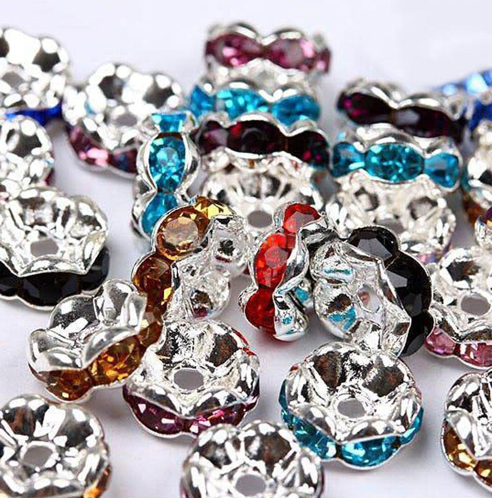 50//100Pc Czech Crystal Spacer Rondelle Beads Charm Findings 8mm Free Shipping