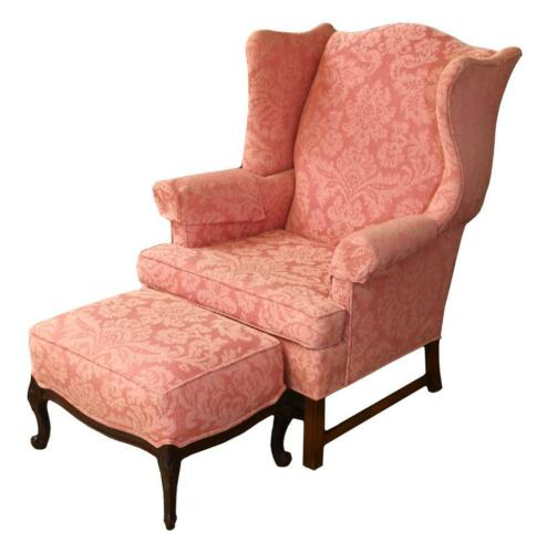 Chippendale Style Mahogany Wing Chair Arm Chair Designer Damask Matching Ottoman