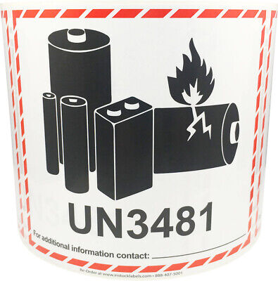 Un3481 Lithium Ion Battery Shipping Labels 4.5 X 5 Inches 500 Labels Total