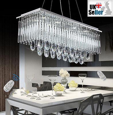 Modern K9 Kristall LED Rechteckig Anhänger Deckenlampe Kronleuchter + Fern CTRL - Moderne Rechteckige Kronleuchter