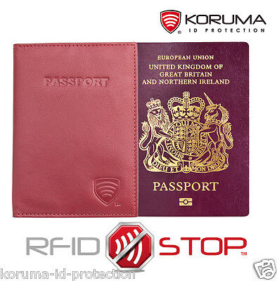 KORUMA RFID Blocking Leather Travel Biometric Passport Holder Case (KUK-91R)