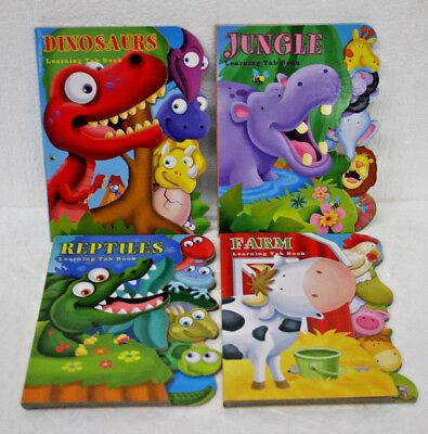 Dinosaur Illustrations (Animal Themed Board Books 4 different Children's books Jungle Reptiles)