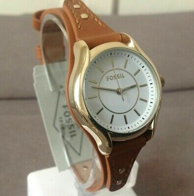 Fossil Ladies Gold Tone Stainless Steel Dark Brown Leather Band  Watch BQ3067