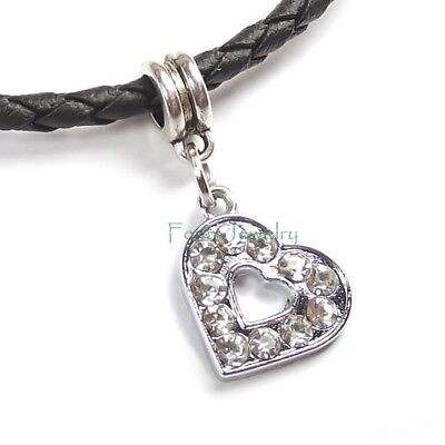 White Clear Hollow Open Heart Crystal Dangle Slider for European Charm Bracelet Crystal Open Heart Charm