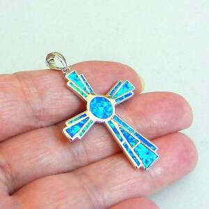 STERLING SILVER 925 BLUE FIRE INLAY OPAL MODERN DESIGN PENDANT. Rothwell Redcliffe Area Preview