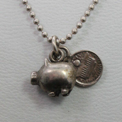 (Sterling Silver Necklace with Piggy Bank & Penny Charm 18 inches)
