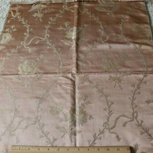 """French Antique C1880 Woven Peach Silk Lampas Fabric~Floral Frame,Ribbons~29""""X21"""""""