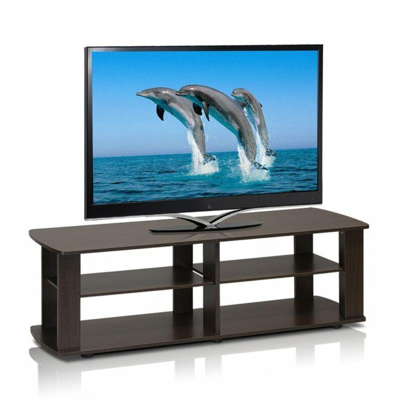TV Stand Entertainment Center Media Console Dark Brown Flat