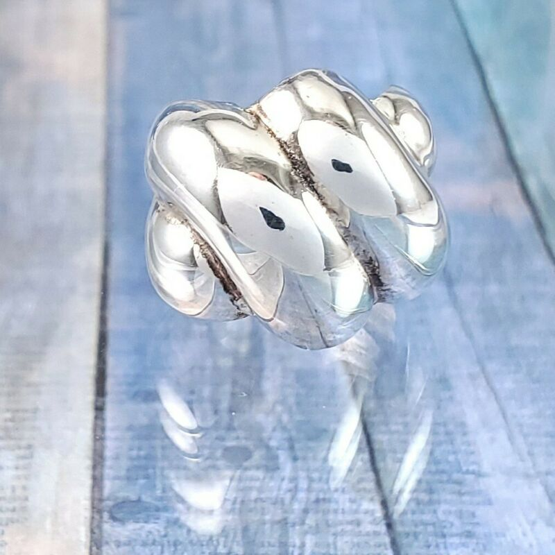 Mexican Modernist Sterling Silver Swirl Shrimp / Shell Dome Ring. Size 5. Wide