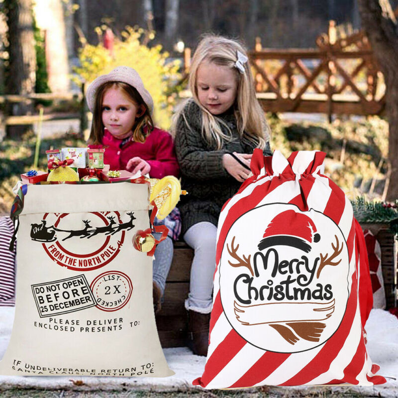 1-20pc Large Drawstring Santa Sack Personalized Jumbo Santa Gift Bags Heavy Duty