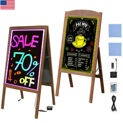 Led Writing Message Board A Frame Chalkboard Easel Floor Advertising Sign Board