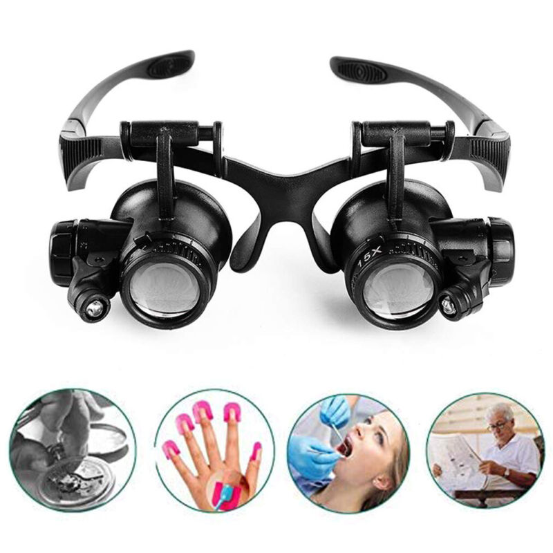 Lighted Head Magnifier Glass Magnifying Loupe -Electronic Repair Reading Eyelash