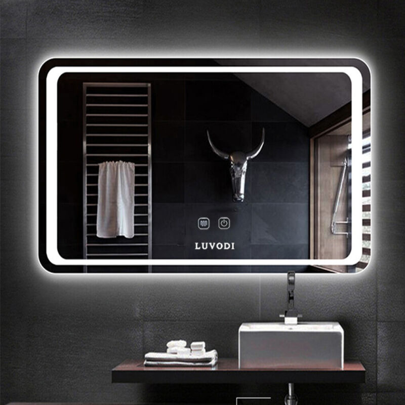 Large LED Wall Mirror Bathroom Vanity Makeup Mirror Dimmable Memory Touch Button
