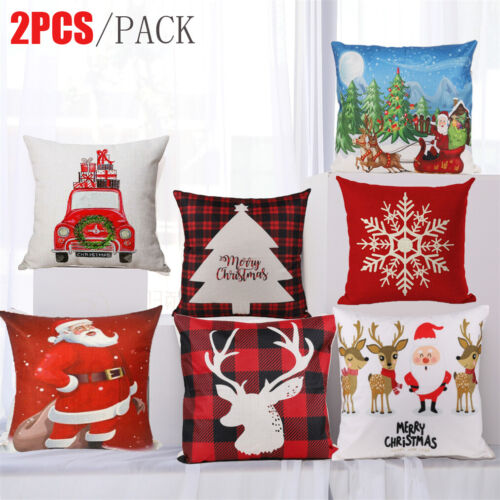 decorative pillows - Set 2pc Christmas Throw Cushion Cover Pillow Case Zipper Closure Xmas Home Decor