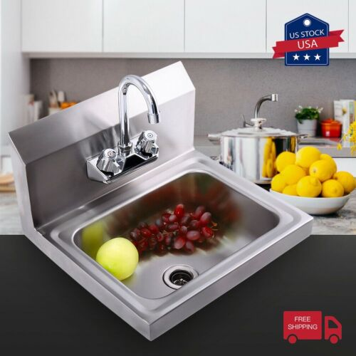 Commercial Stainless Steel Wall Mounted NSF Hand Sink w/Faucet HeavyDuty Kitchen
