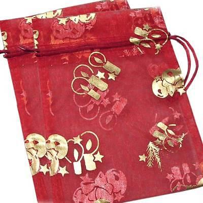 Holiday2-pakdecorative Ornamental Organza Gift Jewelry Pouchred Wgold