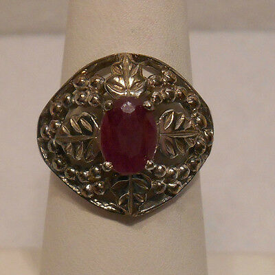 Vintage Anique Estate Real Ruby 925 Sterling Silver Rope   Leaf Design Ring Sz 7