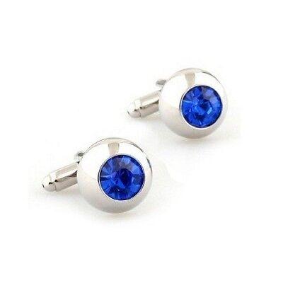 Crystal Pair Cufflinks Blue Elegant Wedding Fancy Gift Box & Polishing Cloth Wedding Elegant Gift Box
