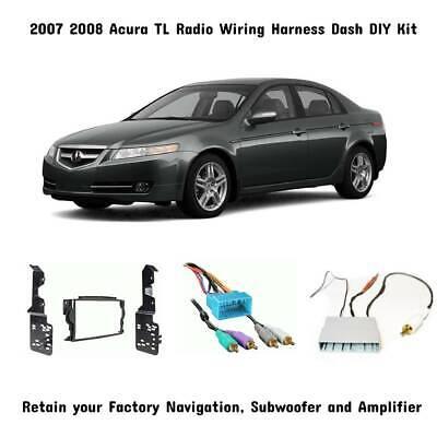 2007 08 Acura TL Aftermarket Radio Wiring Dash Kit w/Sub Amp & Nav Retention