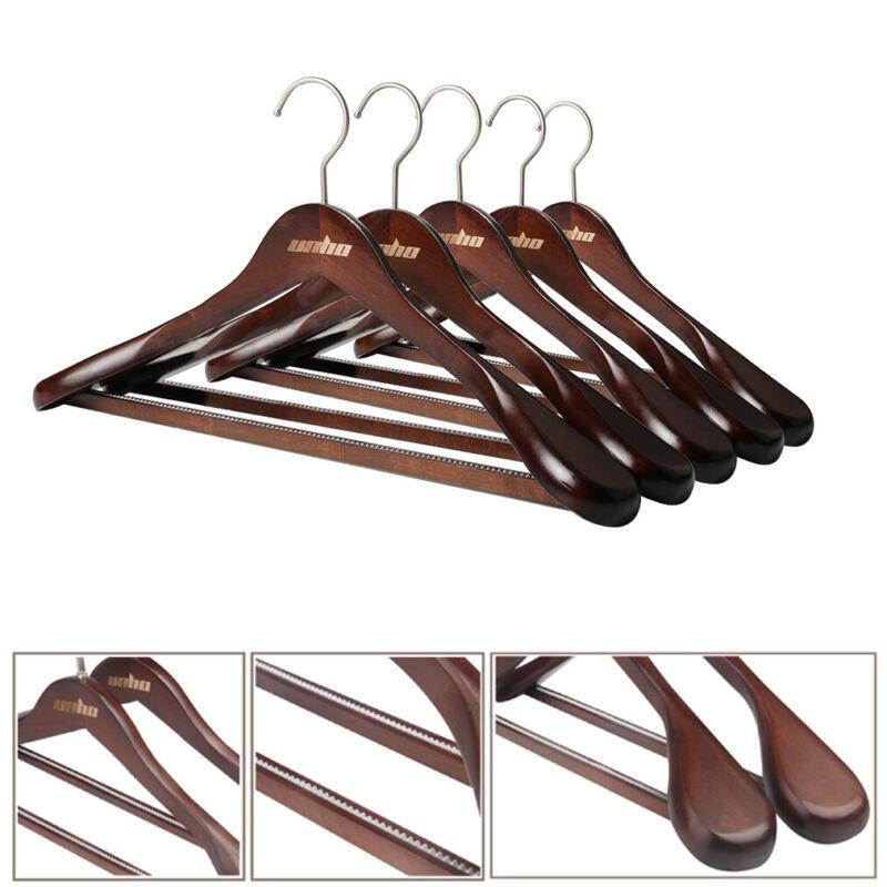 5Pack High-Grade Wide Shoulder Wooden Coat Hanger Solid Wood Clothes Suit Hanger